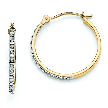 14k Diamond Fascination Round Hinged Hoop Earrings