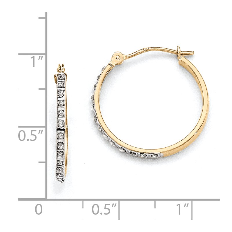 Quality Gold 14k Diamond Fascination Round Hinged Hoop Earrings