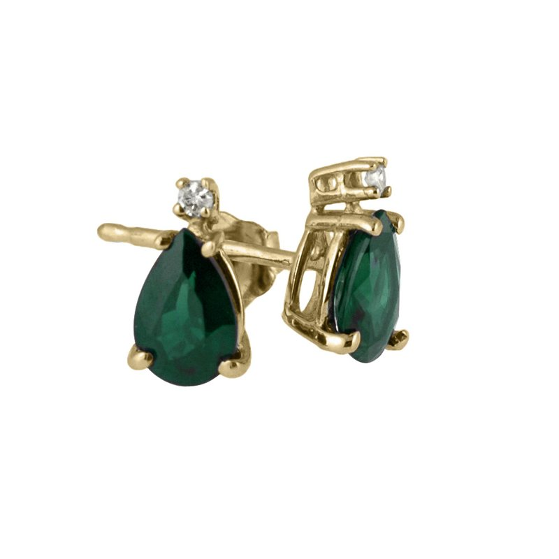 14k Yellow Gold  Pear Shaped Emerald And Diamond Earrings