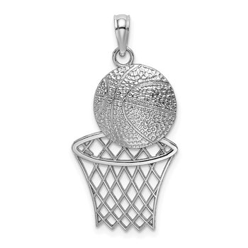 14K White Gold Diamond-Cut Basketball and Net Charm