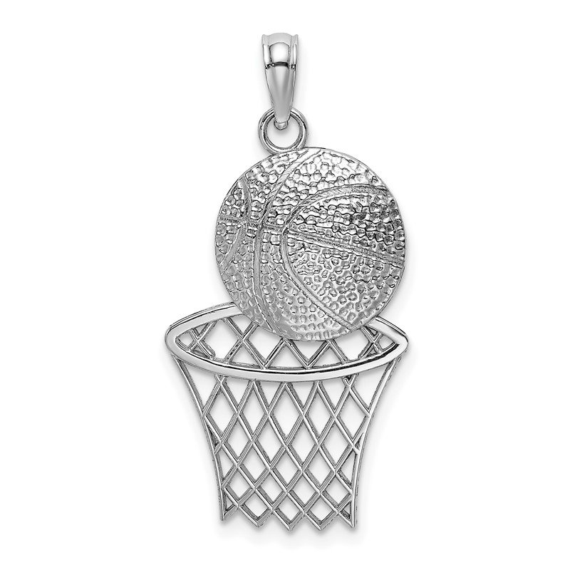 Quality Gold 14K White Gold Diamond-Cut Basketball and Net Charm