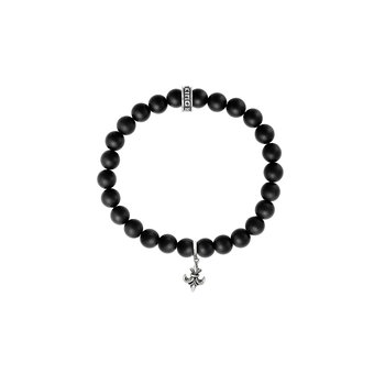 8Mm Black Onyx Bead Bracelet With Silver Fdl