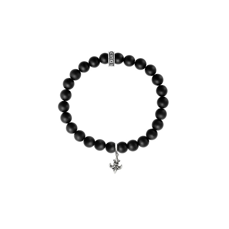 King Baby 8Mm Black Onyx Bead Bracelet With Silver Fdl