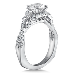 Valina Diamond Engagement Ring Mounting in 14K White Gold with Platinum Head (.54 ct. tw.)