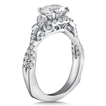 Diamond Engagement Ring Mounting in 14K White Gold with Platinum Head (.54 ct. tw.)