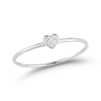 14K Heart band with 6 Diamonds 0.02C
