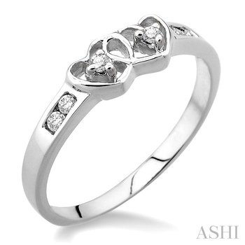 silver 2stone twin heart shape diamond ring