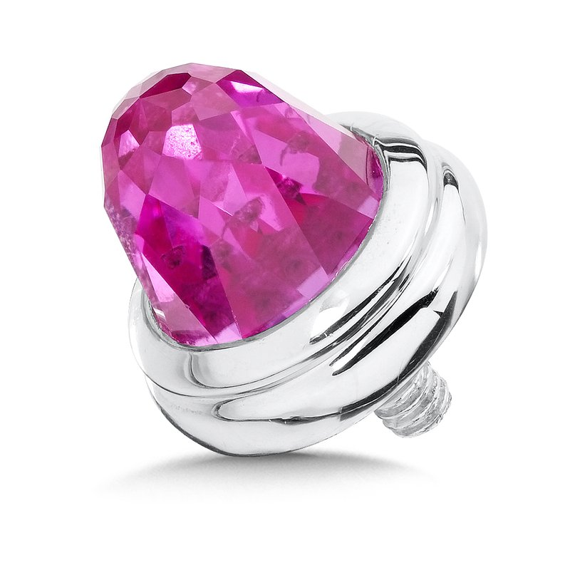 Colore Sg Sterling Silver Created Pink Sapphire Caps (pair)