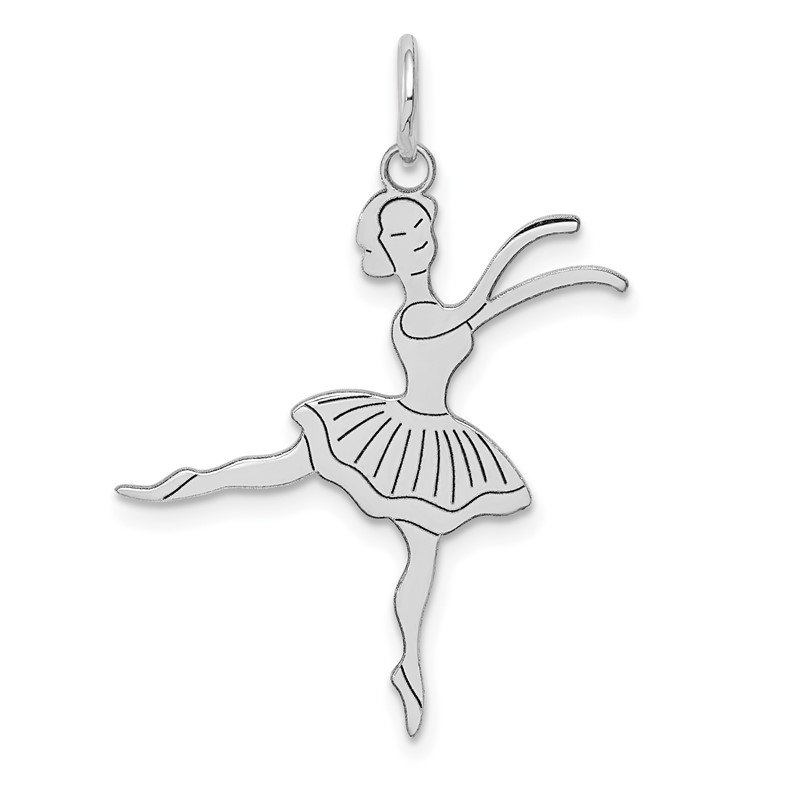Quality Gold 14k White Gold Satin Polished Ballerina Charm