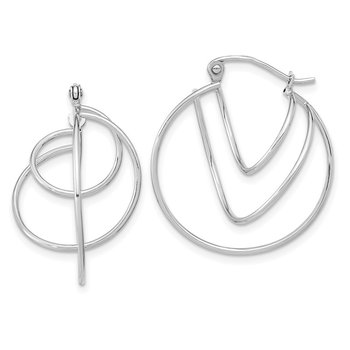 14k White Gold Polished Twisted Circles Hoop Earrings