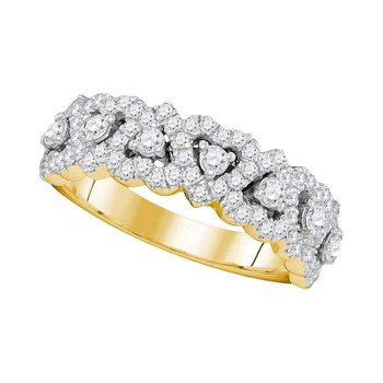 14kt Yellow Gold Womens Round Pave-set Diamond Heart Band 3/4 Cttw