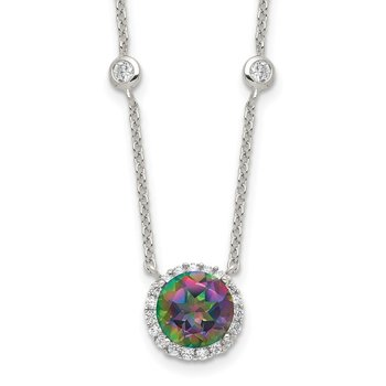 Sterling Silver Dark Mystic CZ Halo Pendant on 6-Station Necklace