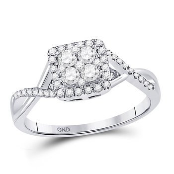 10kt White Gold Womens Round Diamond Square Frame Cluster Twist Ring 1/2 Cttw