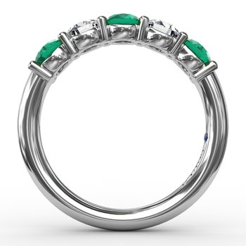 Chunky Emerald and Diamond Shared Prong Anniversary Band