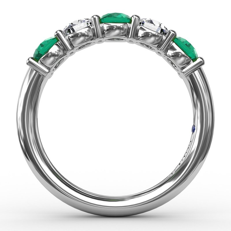 Fana Chunky Emerald and Diamond Shared Prong Anniversary Band