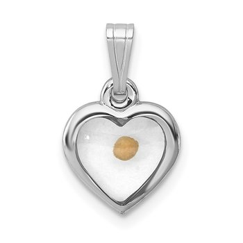 Sterling Silver Rhodium-plated Small Heart with Mustard Seed Pendant