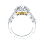 Carizza 14K Two-Tone Gold Round Diamond Halo Engagement Ring with Split Shank (Semi-Mount)