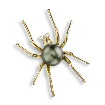 Blue Spider Brooch.18K -Diamonds and Tahitian Pearl