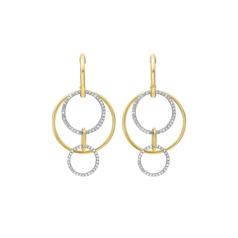 Gems One Cutout Circle Diamond Earrings in 14K Yellow Gold (1/2 ct. tw.)