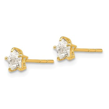 14k Madi K CZ 4mm Star Post Earrings