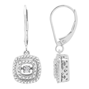 SILVER 0.02CTW SQUARE DBL HALO HEARTBEAT WITH MP EARRING