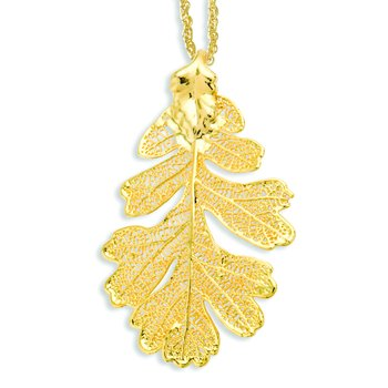 24k Gold Dipped Oak Leaf with 20 inch Gold-tone Necklace