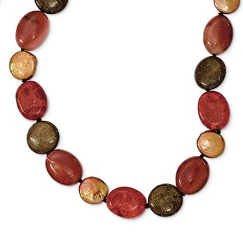 Sterling Silver Tiger Eyes/Carnelian/Reconst. Coral/FW Cult. Pearl Necklace