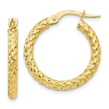 Leslie's 10k Polished Diamond-cut Hoop Earrings