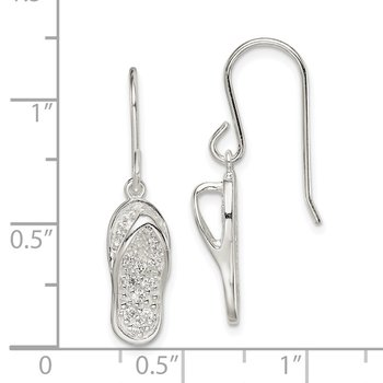 Sterling Silver CZ Flip-Flop Dangle Earrings