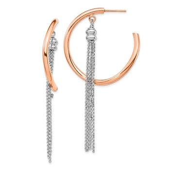 Sterling Silver Rhodium-plated & Rose-gold plate Hoop w/Chain Earrings