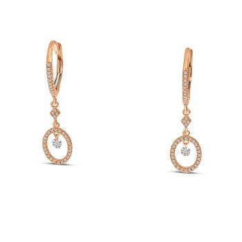 14K Rose Gold Round Hanging Diamond Earrings