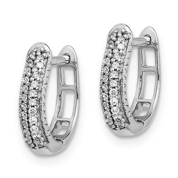 14k White Gold Polished Diamond Hinged Hoop Earrings