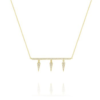 Diamond Bar Necklace with Three Hanging Spike Accents Set in 14 Kt. Gold