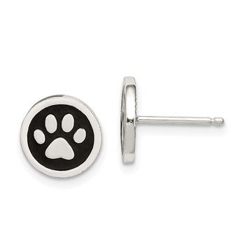 Sterling Silver Polished Enamel Paw Print Post Earrings