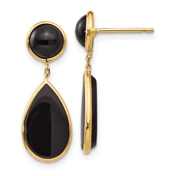 14k Onyx Teardrop Dangle Post Earrings