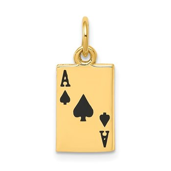 14k Enameled Ace of Spades Card Charm