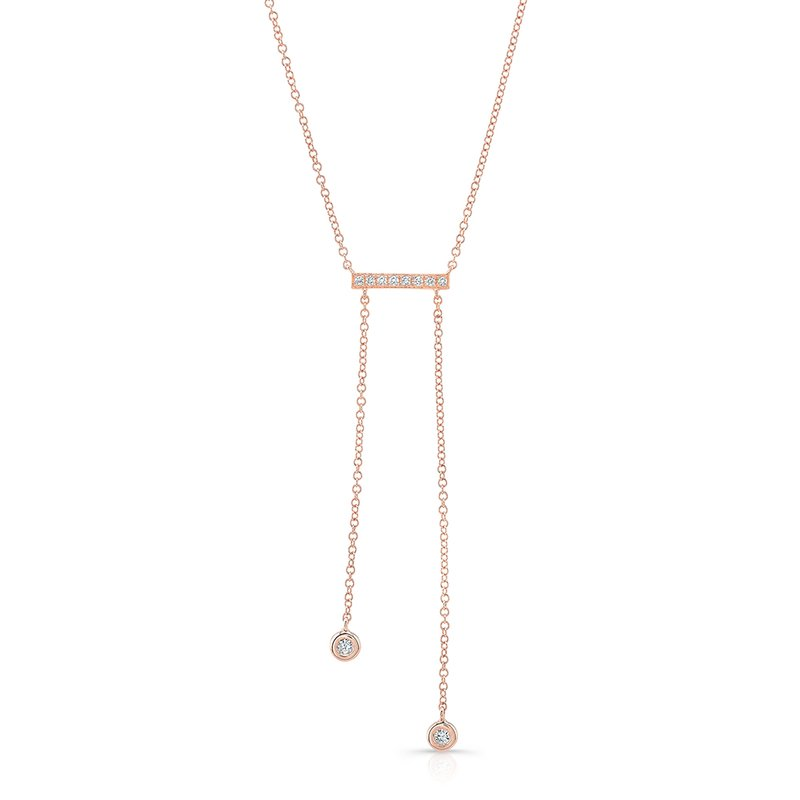 MK Diamonds Rose Gold Dangling Bar Necklace