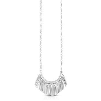 Silver Bead & Bar Fringe Necklace