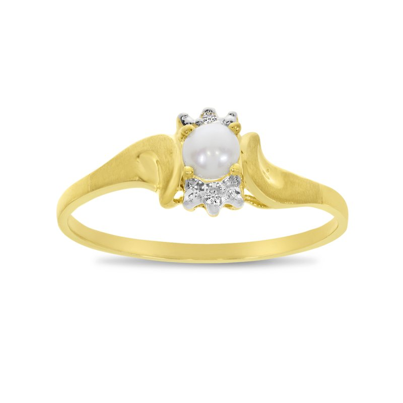 Color Merchants 10k Yellow Gold Freshwater Cultured Pearl And Diamond Satin Finish Ring
