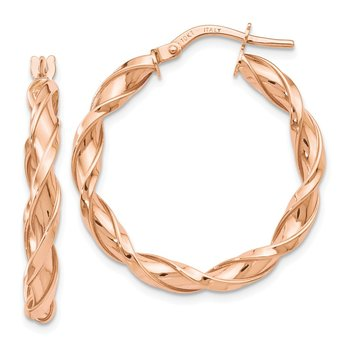 Leslie's 10K Rose Gold Polished Twisted Hoop Earrings