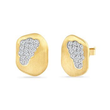 14K FREE FORM DROP EARRINGS WITH 36 DIAMONDS 0.54CT