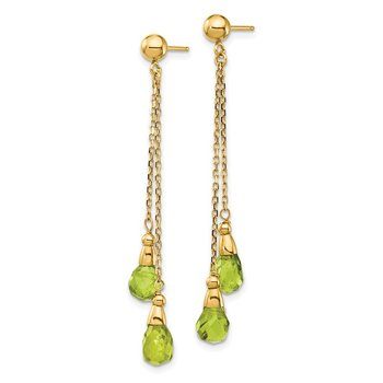 14k Peridot Dangle Earrings