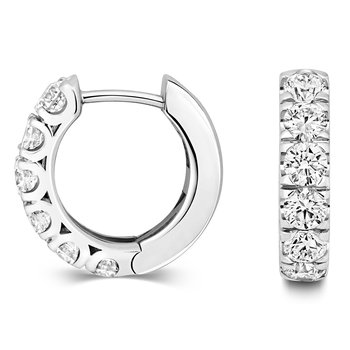 Diamond Hoop Earrings 15mm