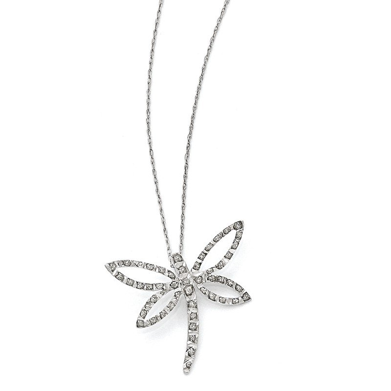 Quality Gold 14k White Gold Diamond Fascination 18in Dragonfly Necklace