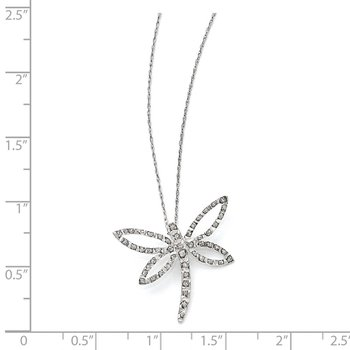 14k White Gold Diamond Fascination 18in Dragonfly Necklace