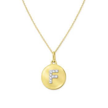 Diamond Uppercase Mini Disc Initial F Necklace