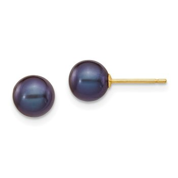 14k 6-7mm Black Round Freshwater Cultured Pearl Stud Post Earrings
