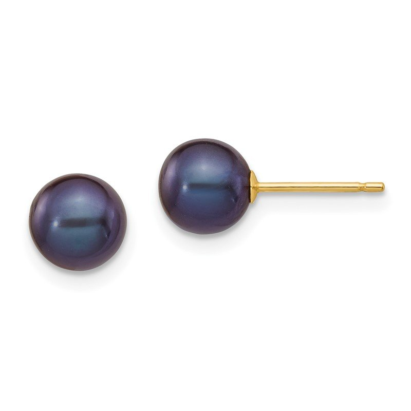 Quality Gold 14k 6-7mm Black Round Freshwater Cultured Pearl Stud Post Earrings