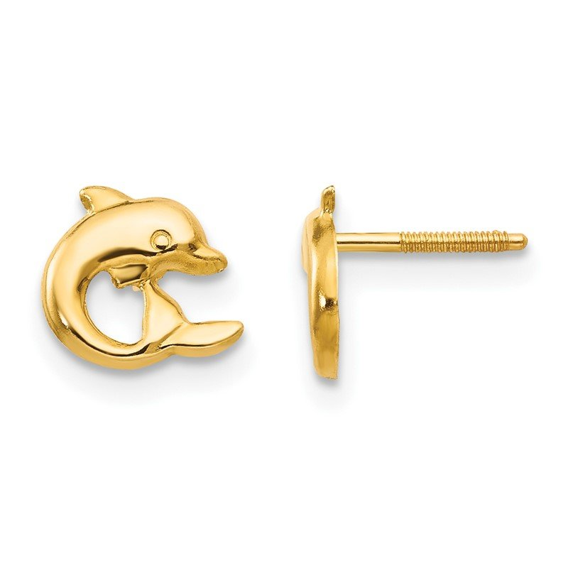 Quality Gold 14k Madi K Dolphin Post Screwback Earrings