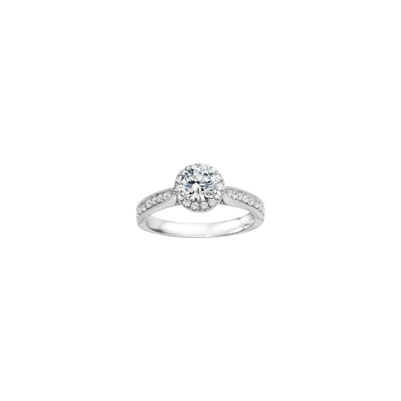 True Romance Round Halo Classic Engagement Ring